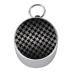 Houndstooth2 Black Marble & Gray Metal 1 Mini Silver Compasses