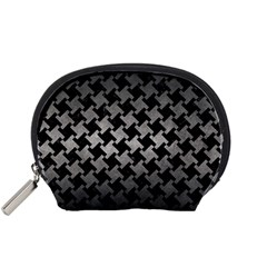 Houndstooth2 Black Marble & Gray Metal 1 Accessory Pouches (small)