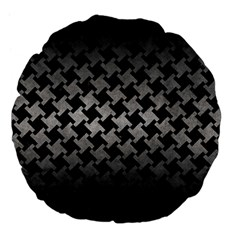 Houndstooth2 Black Marble & Gray Metal 1 Large 18  Premium Flano Round Cushions