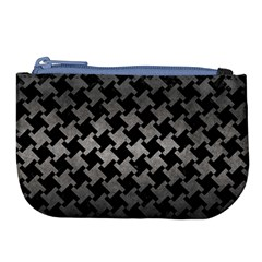 Houndstooth2 Black Marble & Gray Metal 1 Large Coin Purse