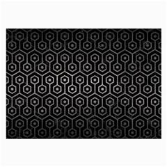 Hexagon1 Black Marble & Gray Metal 1 Large Glasses Cloth