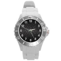 Hexagon1 Black Marble & Gray Metal 1 Round Plastic Sport Watch (l)