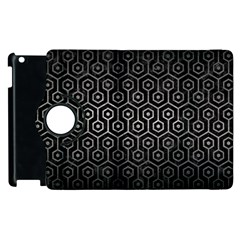 Hexagon1 Black Marble & Gray Metal 1 Apple Ipad 2 Flip 360 Case