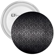 Hexagon1 Black Marble & Gray Metal 1 (r) 3  Buttons