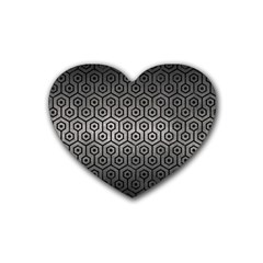 Hexagon1 Black Marble & Gray Metal 1 (r) Heart Coaster (4 Pack)