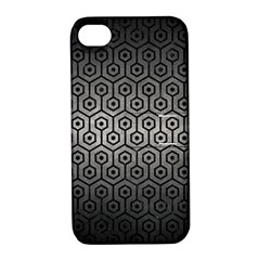 Hexagon1 Black Marble & Gray Metal 1 (r) Apple Iphone 4/4s Hardshell Case With Stand