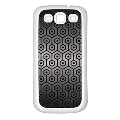 Hexagon1 Black Marble & Gray Metal 1 (r) Samsung Galaxy S3 Back Case (white)