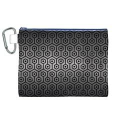 Hexagon1 Black Marble & Gray Metal 1 (r) Canvas Cosmetic Bag (xl)