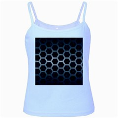 Hexagon2 Black Marble & Gray Metal 1 Baby Blue Spaghetti Tank