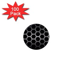 Hexagon2 Black Marble & Gray Metal 1 1  Mini Magnets (100 Pack)
