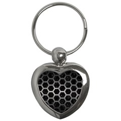 Hexagon2 Black Marble & Gray Metal 1 Key Chains (heart)