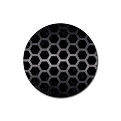 Hexagon2 Black Marble & Gray Metal 1 Rubber Coaster (round)