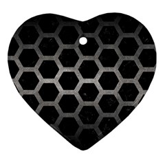 Hexagon2 Black Marble & Gray Metal 1 Heart Ornament (two Sides)