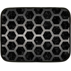 Hexagon2 Black Marble & Gray Metal 1 Fleece Blanket (mini)
