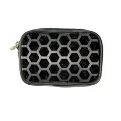 Hexagon2 Black Marble & Gray Metal 1 Coin Purse