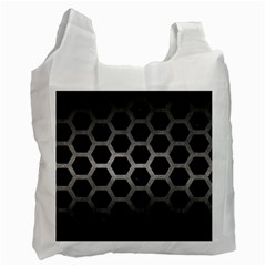 Hexagon2 Black Marble & Gray Metal 1 Recycle Bag (two Side)