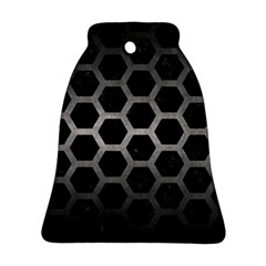 Hexagon2 Black Marble & Gray Metal 1 Bell Ornament (two Sides)