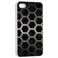 Hexagon2 Black Marble & Gray Metal 1 Apple Iphone 4/4s Seamless Case (white)