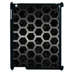 Hexagon2 Black Marble & Gray Metal 1 Apple Ipad 2 Case (black)