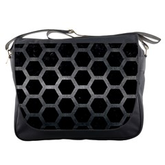 Hexagon2 Black Marble & Gray Metal 1 Messenger Bags