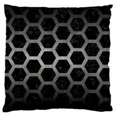 Hexagon2 Black Marble & Gray Metal 1 Large Cushion Case (two Sides)