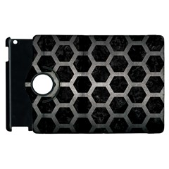 Hexagon2 Black Marble & Gray Metal 1 Apple Ipad 3/4 Flip 360 Case
