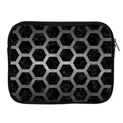 Hexagon2 Black Marble & Gray Metal 1 Apple Ipad 2/3/4 Zipper Cases