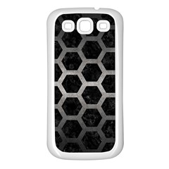 Hexagon2 Black Marble & Gray Metal 1 Samsung Galaxy S3 Back Case (white)