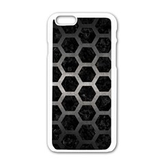 Hexagon2 Black Marble & Gray Metal 1 Apple Iphone 6/6s White Enamel Case