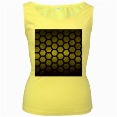 Hexagon2 Black Marble & Gray Metal 1 (r) Women s Yellow Tank Top
