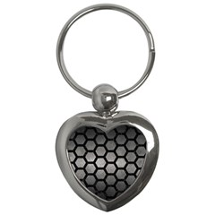 Hexagon2 Black Marble & Gray Metal 1 (r) Key Chains (heart)