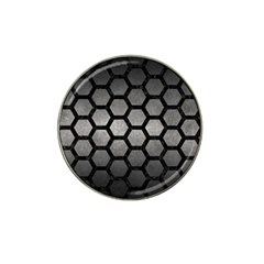 Hexagon2 Black Marble & Gray Metal 1 (r) Hat Clip Ball Marker