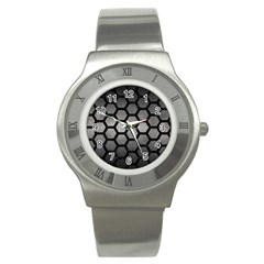 Hexagon2 Black Marble & Gray Metal 1 (r) Stainless Steel Watch