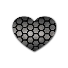 Hexagon2 Black Marble & Gray Metal 1 (r) Heart Coaster (4 Pack)