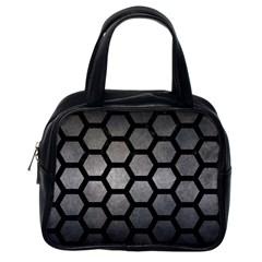 Hexagon2 Black Marble & Gray Metal 1 (r) Classic Handbags (one Side)
