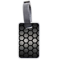 Hexagon2 Black Marble & Gray Metal 1 (r) Luggage Tags (one Side)