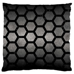 Hexagon2 Black Marble & Gray Metal 1 (r) Large Cushion Case (two Sides)