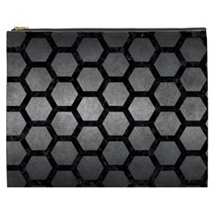 Hexagon2 Black Marble & Gray Metal 1 (r) Cosmetic Bag (xxxl)