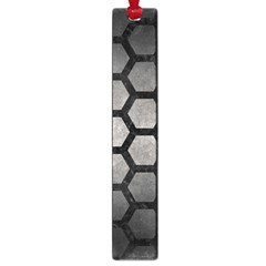 Hexagon2 Black Marble & Gray Metal 1 (r) Large Book Marks