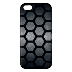 Hexagon2 Black Marble & Gray Metal 1 (r) Apple Iphone 5 Premium Hardshell Case