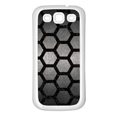 Hexagon2 Black Marble & Gray Metal 1 (r) Samsung Galaxy S3 Back Case (white)