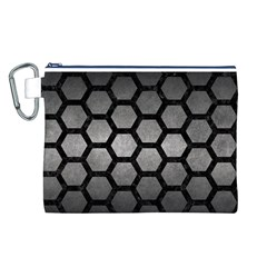 Hexagon2 Black Marble & Gray Metal 1 (r) Canvas Cosmetic Bag (l)