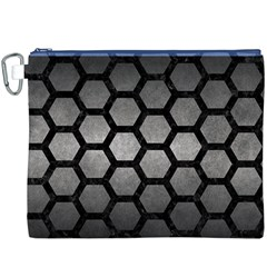Hexagon2 Black Marble & Gray Metal 1 (r) Canvas Cosmetic Bag (xxxl)