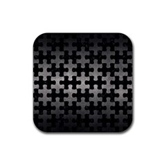 Puzzle1 Black Marble & Gray Metal 1 Rubber Square Coaster (4 Pack)