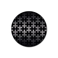 Puzzle1 Black Marble & Gray Metal 1 Rubber Coaster (round)