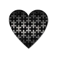 Puzzle1 Black Marble & Gray Metal 1 Heart Magnet