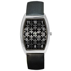 Puzzle1 Black Marble & Gray Metal 1 Barrel Style Metal Watch