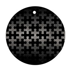 Puzzle1 Black Marble & Gray Metal 1 Round Ornament (two Sides)