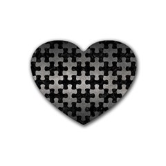 Puzzle1 Black Marble & Gray Metal 1 Rubber Coaster (heart)