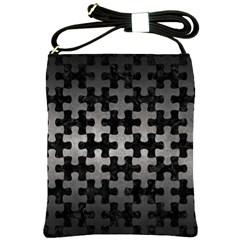 Puzzle1 Black Marble & Gray Metal 1 Shoulder Sling Bags